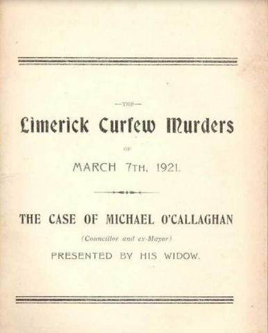 The Case of Michael O'Callaghan as presented by his Widow