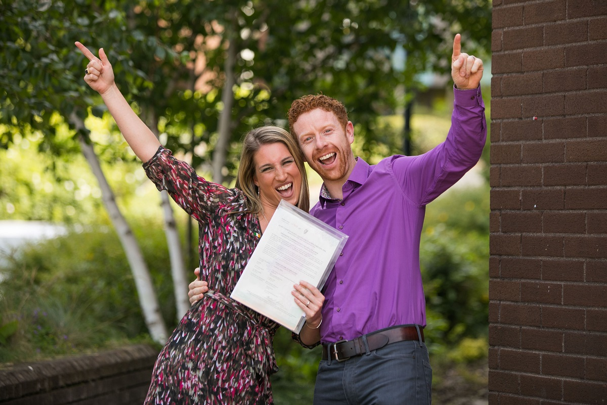 Sondra Maher, originally from the United States but living in Dundrum, County Dublin, pictured with her husband Declan Maher at the citizenship ceremony at UL.