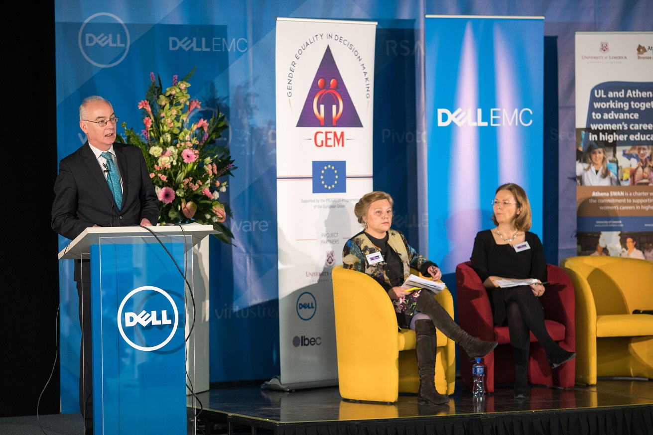Pictured is Professor Paul McCutcheon, Vice President, Academic and Registrar, University of Limerick, speaking at the UL and Dell EMC event celebrating International Women's Day.
