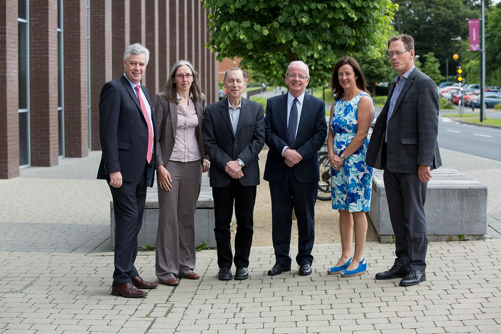 At the recent visit of Professor Robert Langer to UL were Dr Philip O'Regan, Dean KBS, Dr Sarah Hudson, Professor Robert Langer from MIT, Professor Des Fitzgerald, President of University of Limerick, Dr Mary Shire, VP Research at UL, and Professor Edmond Magner.