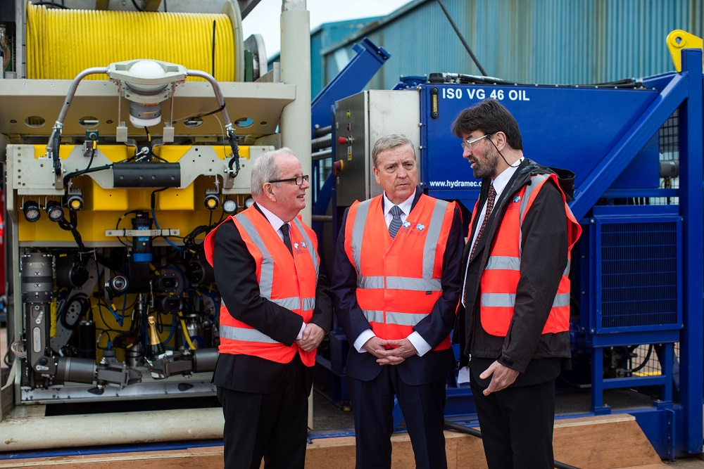 UL President Dr Des Fitzgerald, Minister Pat Breen and Professor Dan Toal at the launch of a €2-million SFI-funded undersea robot for use in the marine renewable sector.