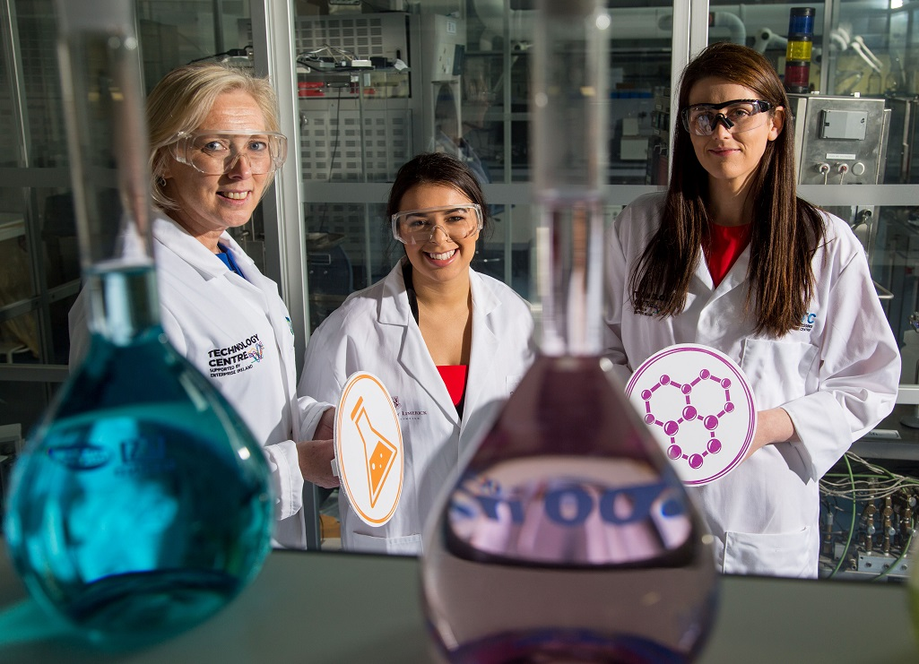 UL biomedical engineering student Jessica Silva, (centre) with Liz Dooley, Director Operations with Janssen Sciences Ireland and Dr Regina Kelly, Science Education Project Officer EPI*STEM at the National Centre for Stem Education are pictured as the second year of the university's WiSTEM2D collaboration with global healthcare company, Johnson & Johnson (J&J) begins.