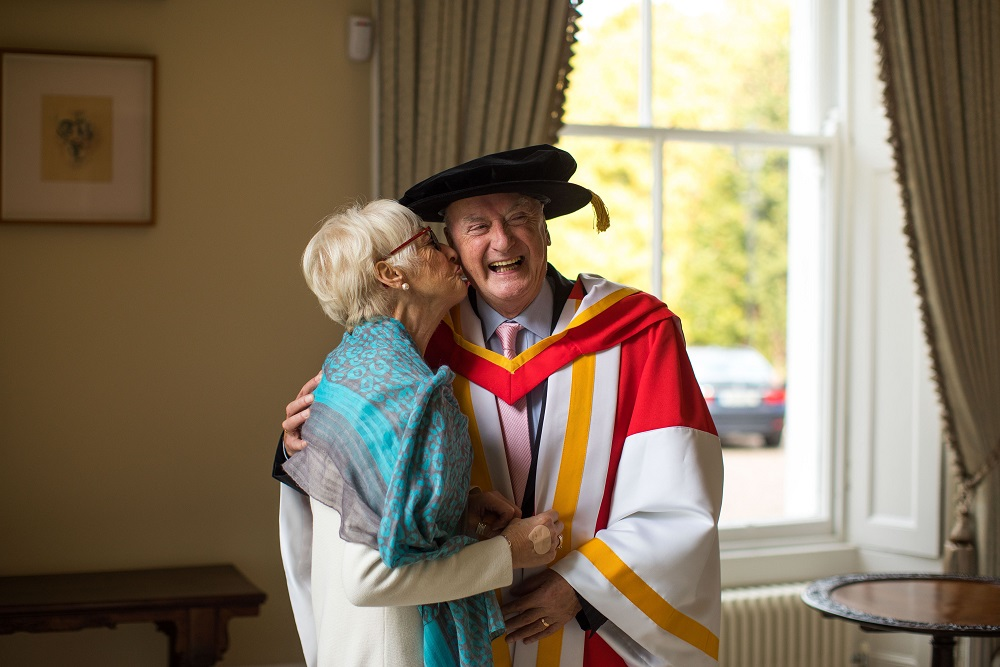 Pictured in Plassey House at the University of Limerick was George Cunningham with his wife Carmel Cunningham before the ceremony.