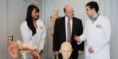 Minister for Finance, Michael Noonan meeting with Graduate Entry Medical School students Chelsea Wee and Shane Murphy