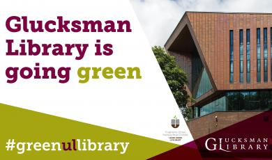Decorative Image of green text over library building